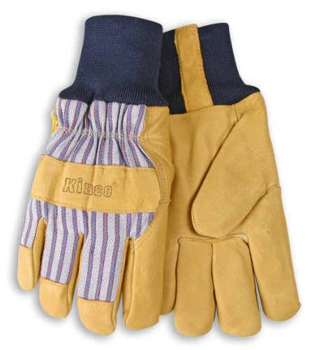 Lined Premium Grain Pigskin Leather Palm Gloves - Knit Wrist ()