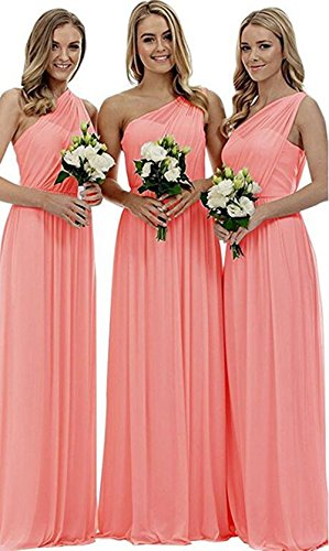 Future Girl Women's Long One Shoulder Bridesmaid Dress Asymmetric Prom Evening Gown Coral,8 (Shoulder Coral One Dress)