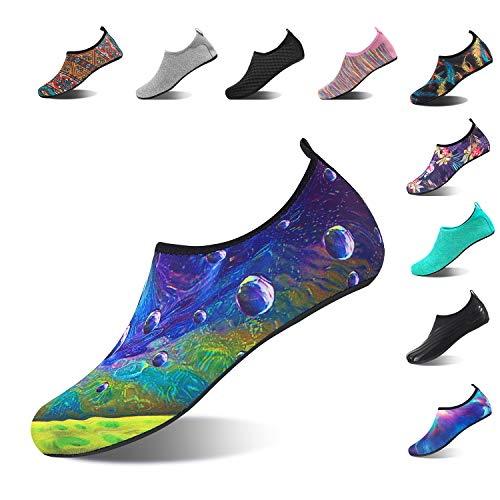 NING MENG Aqua Socks Beach Water Shoes Barefoot Yoga Socks Quick-Dry Surf Swim Shoes for Women Men (Water dropletst, 40/41EU)