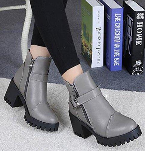 Idifu Kvinna Klassiska Spänne Sido Zipper Plattform Boots Höga Grova Klackar Grå