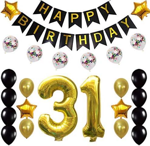 Amazon Com 31 Cumpleaños Decoraciones Fiesta Suministros Feliz 31 Cumpleaños Confeti Globos Pancarta Y 31 Números Conjuntos Para Fiesta De 31 Años Oro Health Personal Care