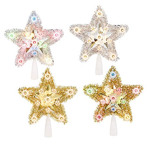 Darice Tinsel Star Tree Topper 4 Assorted Colors