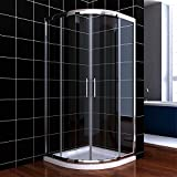 ELEGANT 800 x 800 mm Quadrant Shower Cubicle Enclosure 6mm Glass Sliding Door with Stone Tray + Waste