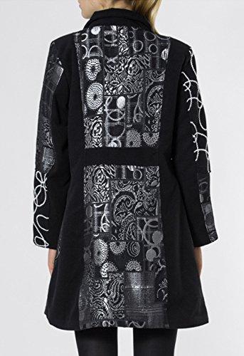 Mtl001 Stylé Noir Laine Patchwork Noir Pour argenté Fabriqué Motif En Femme Avec D'hiver Caspar Italie Argent Manteau dqnZA0d8