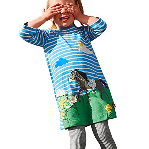 SUNBIBEInfant Kids Baby Girls Pink Stripe Long Sleeve Rainbow Horse Print Casual Dresses for Party Outfit Set (Blue Horse, 24M)