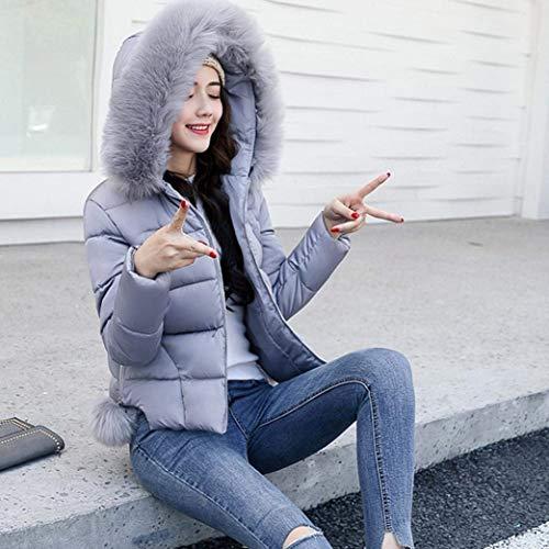 Grau Battercake Elegantes Termica Con Capucha Manga Piel Casuales Mujeres Plumas Acolchado Abrigo Cortos Invierno Mujer Outerwear Cremallera Parkas Largo Moda Pluma Casual De Slim Outdoor Espesar Fit CZCFxnr8