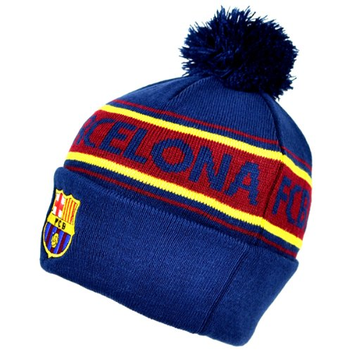 (F.C. Barcelona Barcelona Text Cuff Knitted Hat,Navy,One Size)