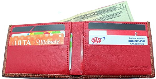 Genuine Alligator Slim Bi-fold Wallet – Factory Direct – Gift Box - Billfold Bifold Money Holder - Made in USA by Real Leather Creations DCRI1 by Real Leather Creations (Image #2)