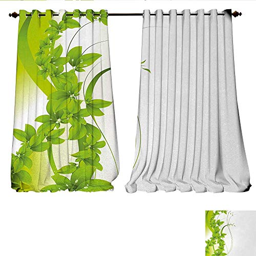 Waterproof Window Curtain Blossoming Flowers Natural Fantasy Theme Abstract Botanical Garden Design Blackout Draperies for Bedroom W84 x L108 Apple Green White