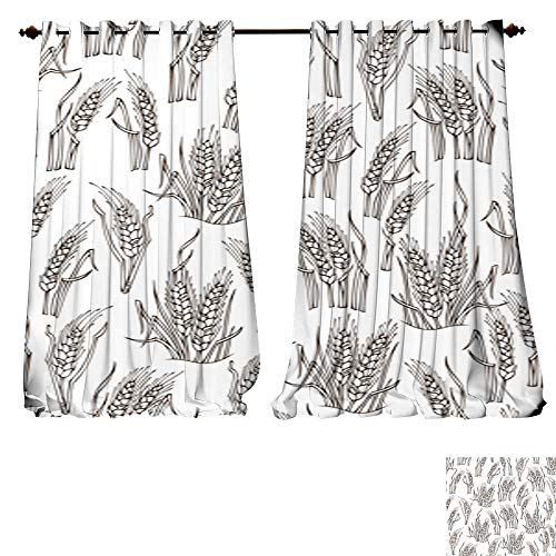 Chandelier Wheat 4 Light (DESPKON-HOME Window Curtain Drape Vector Seamless Sketch Wheat Pattern Thermal Insulated Blackout Curtains -W84 x L108/Pair)