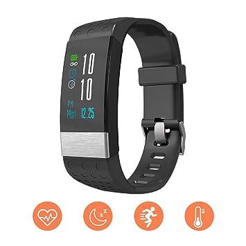 Smartwatch pulsera actividad Relojes inteligentes Rastreador de frecuencia cardíaca Bluetooth con monitor de presión arterial Compatible iOS Samsung ...