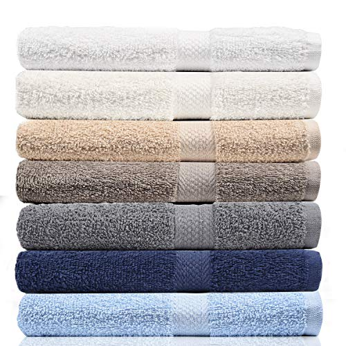 CrystalTowels 7-Pack Bath Towels – Extra-Absorbent – 100% Cotton – 27″ x 52″