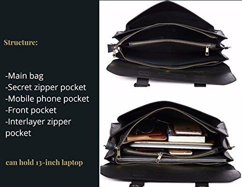 Leder Laptop Taschen Herren Aktentaschen Businesstaschen Damen Messenger Schultertasche College Notebook Umhängetasche für Männer und Frauen - Schwarz Schwarz