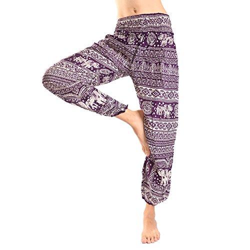 Rita & Risa Women's Elastic Waist Elephants Printed Long Pajama PJ Sleep Bottoms Pants Deep Purple X-Small / US (Halloween Denver Co)