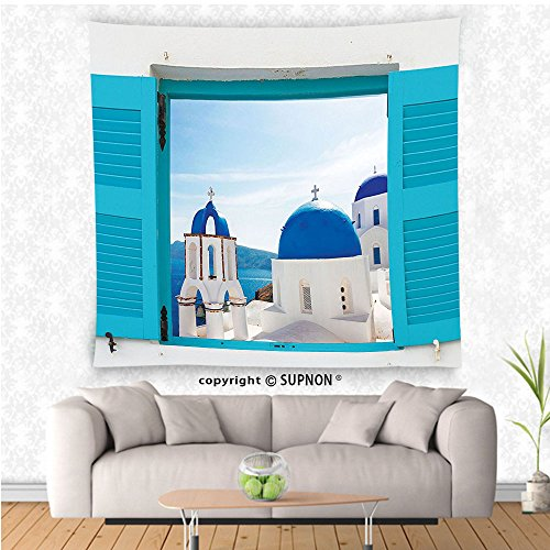 VROSELV custom tapestry House Decor Collection Window With View Of Classical Church With Blue Domes Oia Santorini Greece Bedroom Living Room Dorm Wall Hanging (Cowboy Dome Lunch Box)