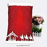 VROSELV Cotton Microfiber Bathroom Bath Towel-christian christmas scene on red background illustration Custom pattern of household products(19.7''x39.4'')