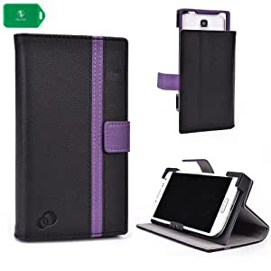 UNVERSAL SMART PHONE CASE FOR Sony Xperia Z1 Compact [FOLIO STYLE] IN- BLACK/ PURPLE