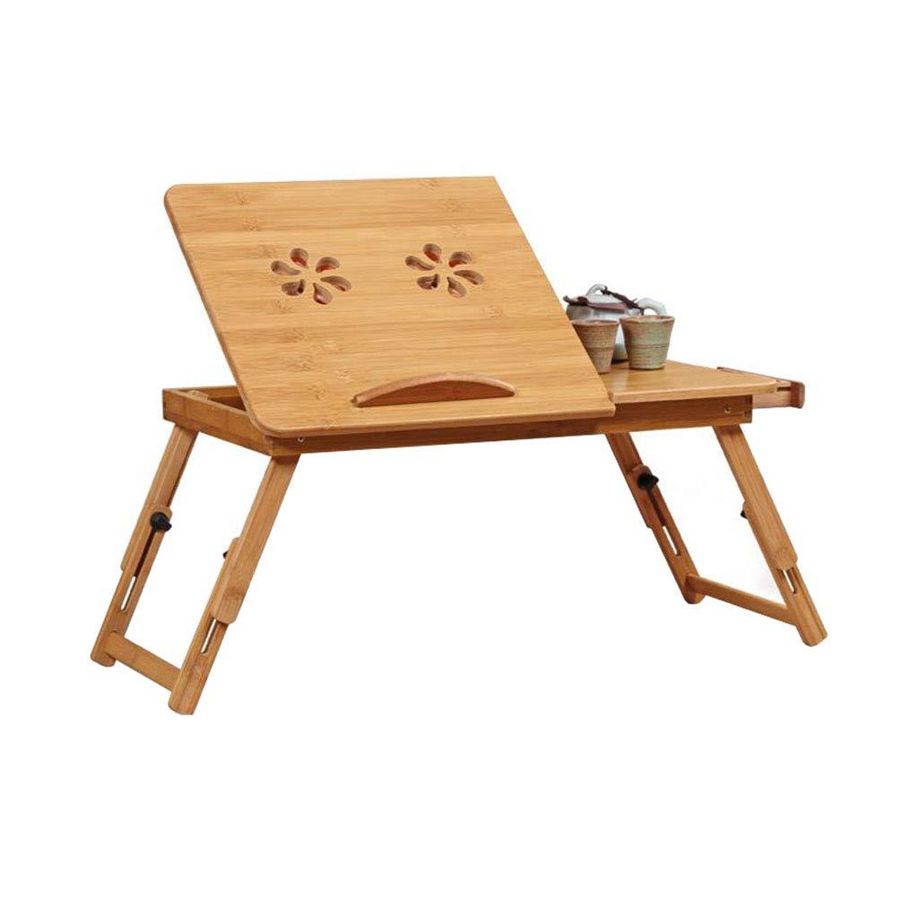 Bandeja de Mesa portátil Escritorio Plegable Ajustable en Altura y : ángulo de bambú, ventilado con cajón (Tamaño : y 53cm) 1c40e2