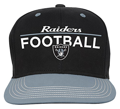 NFL Youth Boys Retro Bar Script Flatbrim Snapback Hat-Black-1 Size, Oakland Raiders -