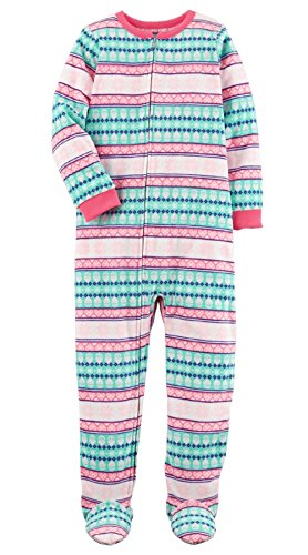 Carter's Big Girls Footed Microfleece PJ's Sleeper Pajamas (Stripe, 7)