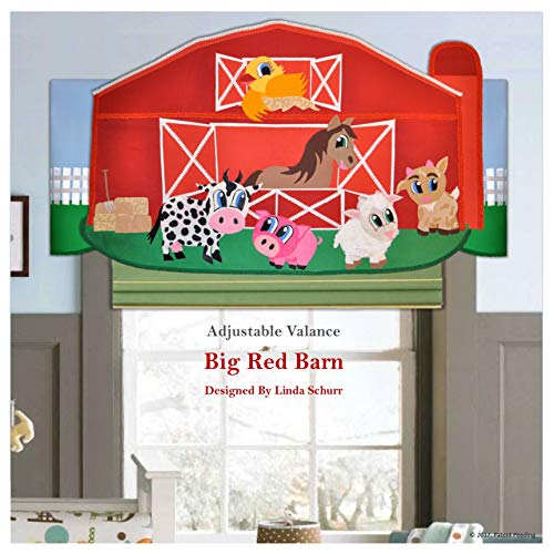 Nursery Valance, Children's Farm Animal Decor, Handmade Red Fabric Barn Window Treatment for Kids Window or Wall Decoration ()