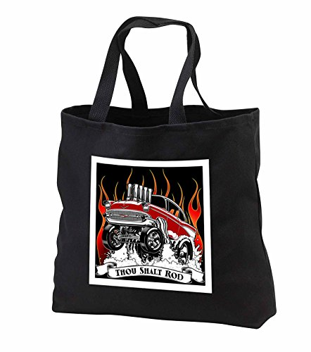 Mark Grace HOT RODS - live to rod - Street rodder blasting through flames and popping wheelies - Tote Bags - Black Tote Bag JUMBO 20w x 15h x 5d (tb_243295_3)
