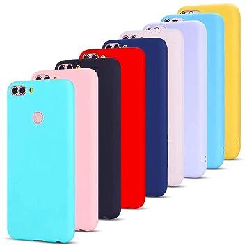 MoEvn 9 X Huawei P Smart Fundas, Carcasa para Huawei P Smart, Case Cover TPU Suave Silicona Mate, Slim Anti Skid Anti Rasguño Color Gel Funda para ...