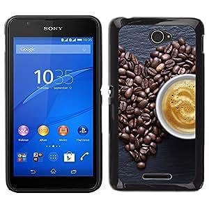 EJOY---Cubierta de la caja de protección la piel dura para el ** Sony Xperia E4 ** --Coffe Amor