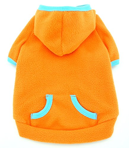 SMALLLEE_LUCKY_STORE Pet Clothes for Small Dog Cat Blank Fleece Coat Hoodie Jumper Sport Style Orange (Small Dog Jumper)
