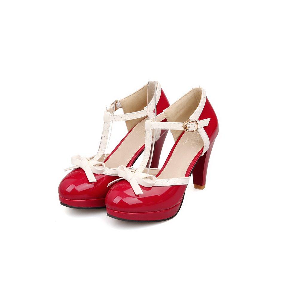 Lucksender Fashion T Strap Bows Womens Platform High Heel Pumps Shoes 9.5B(M)US Red
