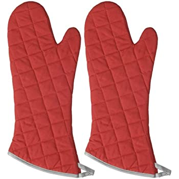 Now Designs 17-Inch Flameguard Oven Mitts, Red, Set of 2