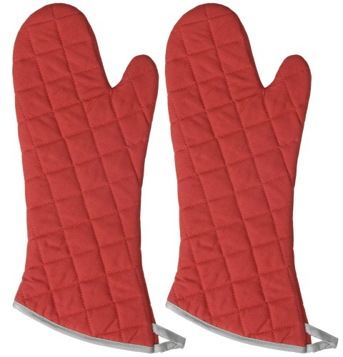 Now Designs 17-Inch Flameguard Oven Mitts, Red, Set of 2 (Designs Oven Mitt Set)