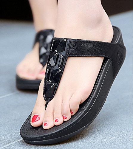 Été Strass Femme Tongs Forme de Plage Boho Flop Chaussures YOGLY Talons Noir Flip T Haut Chaussons Sandales BwCXdRq
