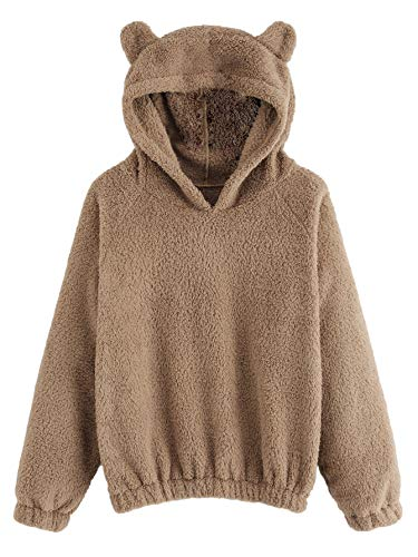 Romwe Women's Long Sleeve Pullovers Hoodie Cute Teddy Ear Hooded Sweatshirt Khaki Large -