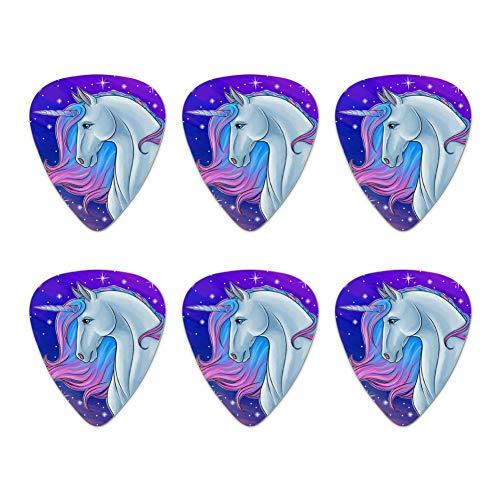 Majestic Unicorn Pink Purple Blue Novelty Guitar Picks Medium Gauge - Set of 6
