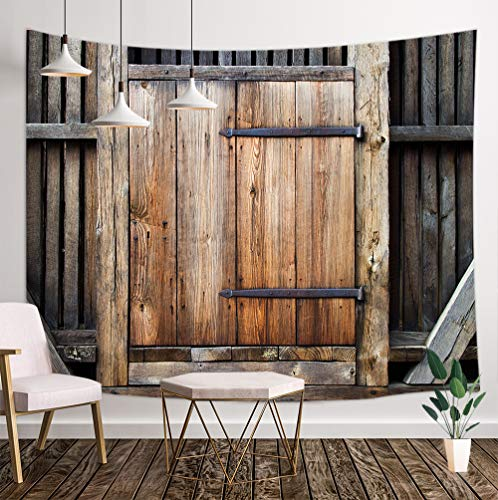 - Rustic Wooden Tapestry Wallpaper, Country Barn Wood Door Tapestry Wall Handing, 3D Panels Wall Tapestry for Bedroom TV Backdrop Beach Blanket Hippie 3D Print