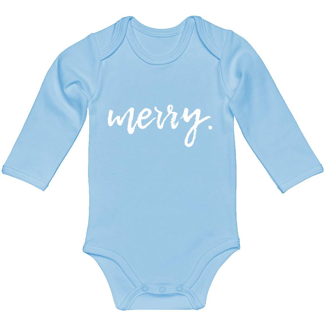 Indica Plateau Baby Onesie Merry 100/% Cotton Long Sleeve Infant Bodysuit