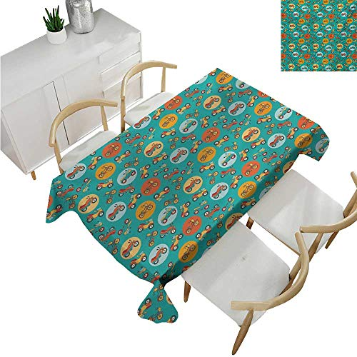 familytaste Motorcycle,Wedding tablecloths,Urban Transport Theme with Different Two Wheeled Vehicles in Dots,Dinner Picnic Table Cloth 54