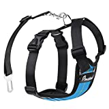 Pawaboo Dog Safety Vest Harness, Pet Dog Adjustable Car Safety Mesh Harness Travel Strap Vest with Car Seat Belt Lead Clip, Large Size, Blue Grid