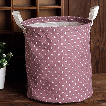 Kicode Sabana de algodon plegable Lave la ropa de la cesta de lavadero Con elegante dise/ño del lunar por Dormitorios de