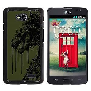Abstract Dragon - Metal de aluminio y de plástico duro Caja del teléfono - Negro - LG Optimus L70 / LS620 / D325 / MS323