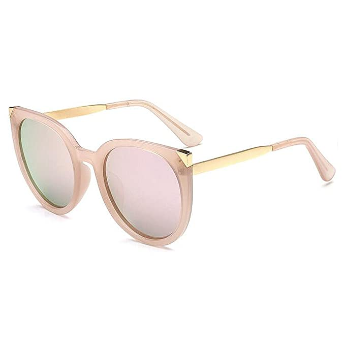 e9d580ce75 IALUKU Retro Semi Rimless Round Polarized Sunglasses Cat Eye Frame Women  Men (Pink