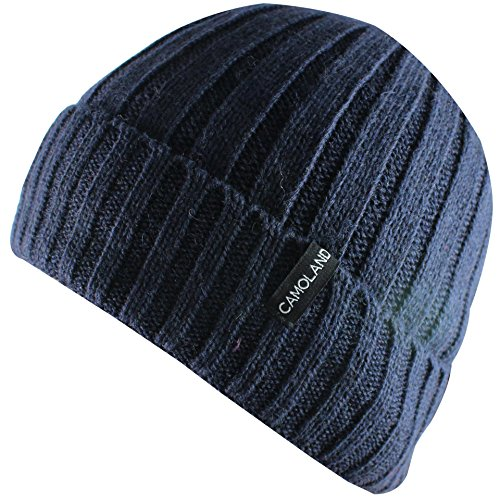CAMOLAND Men's Fleece Wool Cable Knit Winter Beanie Hat (Navy)