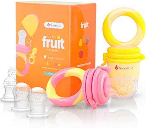 NatureBond Baby Food Feeder/Fruit Feeder Pacifier (2 Pack) - Infant Teething Toy Teether in Appetite Stimulating Colors   Bonus Includes All Sizes Silicone Sacs (Peach Pink and Lemonade Yellow)
