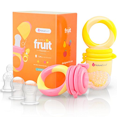 NatureBond Baby Food Feeder/Fruit Feeder Pacifier (2 Pack) - Infant Teething Toy Teether in Appetite Stimulating Colors | Bonus Includes All Sizes Silicone Sacs (Peach Pink and Lemonade Yellow)