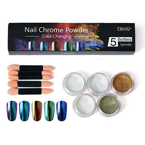Elite99 Chameleon Color Change Nail Chrome Powder,Shinning Mirror Effect Nail Polish Glitter Powder,5 Colors Chrome Powder+5pcs Sponge Stick Manicure DIY Kit