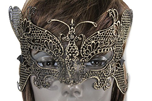 Online Halloween Costume Contests 2016 (TFJ Women Men Halloween Half Face Eye Cover Mask Fashion Costume Black Fabric Gold Butterfly Wide Wings Mardi Gras)