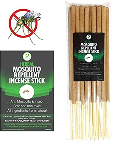 Citronella Mosquito Repellent Incense Sticks by Premilita Healthcare Natural-Harmless Plant Based Insect Protection-Keep Bugs Away 20 (Mosquito Mister Parts)