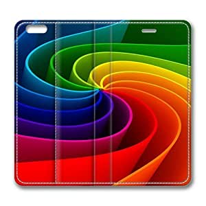 3D Abstract Rainbow Standing Leather Smart Cover Case Exclusive for iPhone 6 Screen