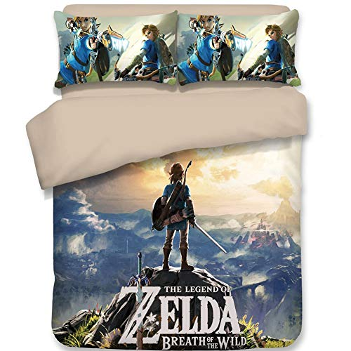 Chutoral 3pcs The Legend of Zelda: Breath of The Wild Duvet Cover Set, Ultra Silky Soft Premium Bedding Collection, 1x Comforter Cover and 2X Pillowcase(Full Size: 89